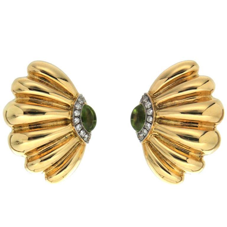 Peridot Diamond Gold Sea Fan Earrings