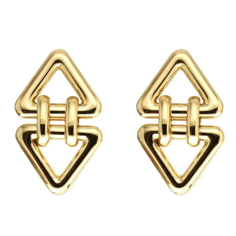 Valentin Magro Gold Double Triangle Earrings