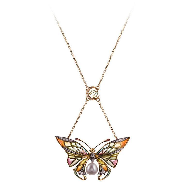 Masriera Plique-a-Jour Enamel Pearl Diamond Butterfly Pendant For Sale