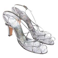 Rare Delman De Luxe Metallic Vintage Shoes Ransohoffs Strappy 1950s Size 8 Heels