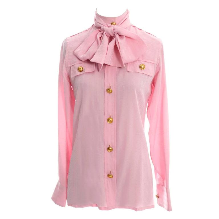 Rare 70s Valentino Pink Silk Bow Blouse V Logo Buttons Older Label Early 1970s 1