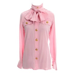 Rare 70s Valentino Pink Silk Bow Blouse V Logo Buttons Older Label Early 1970s