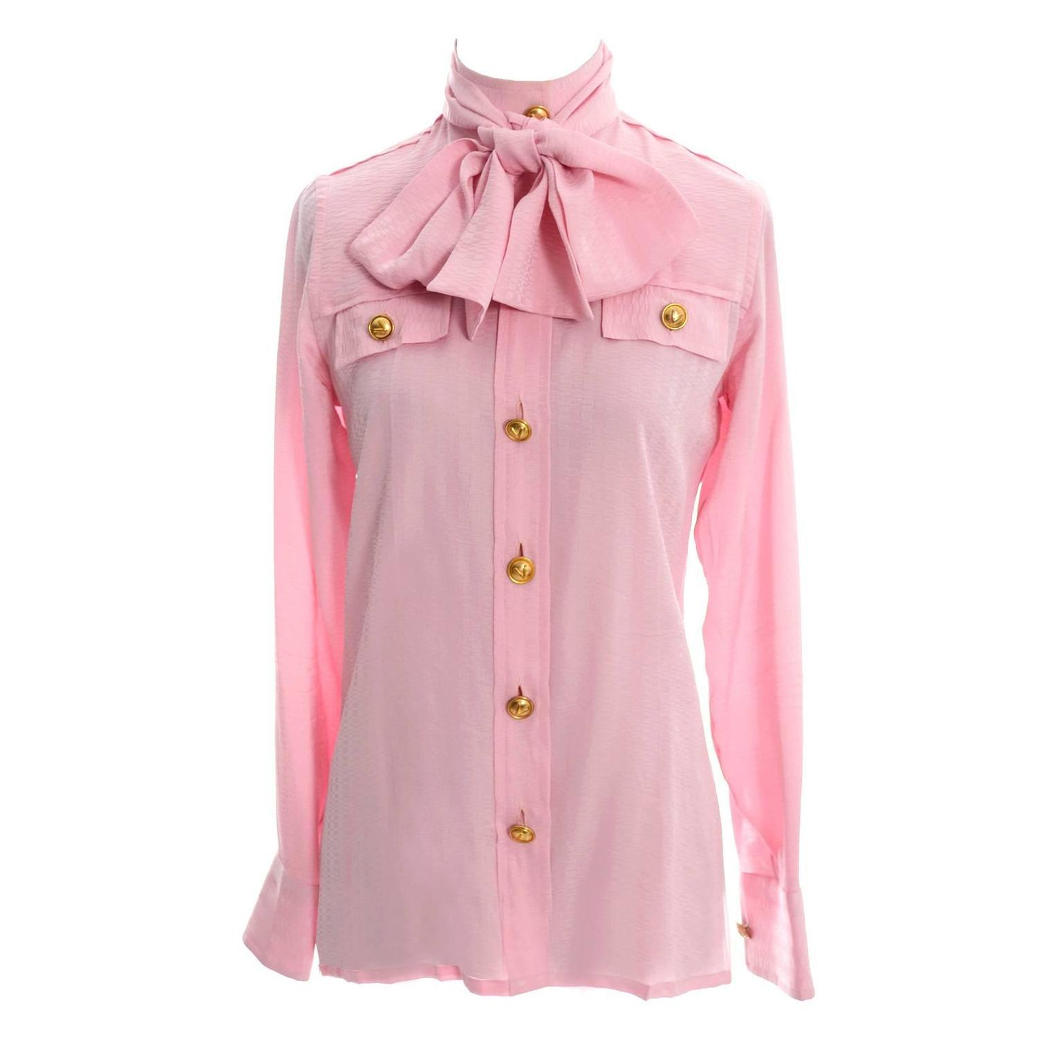 Rare 70s Valentino Pink Silk Bow Blouse V Logo Buttons Older Label