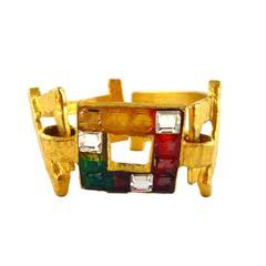 "Christian Lacroix Vintage Jewelled ""Rainbow"" cuff bracelet"