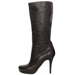 Yves Saint Laurent YSL Black Leather Boots sz 37