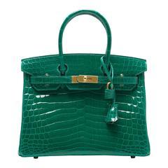 Hermes Emerald (Vert Emerude) Shiny Nilo Crocodile Birkin 30cm Gold Hardware
