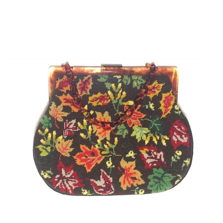 1950s Autumn Leaves Needle Point Handbag with Celluloid Frame and Chain