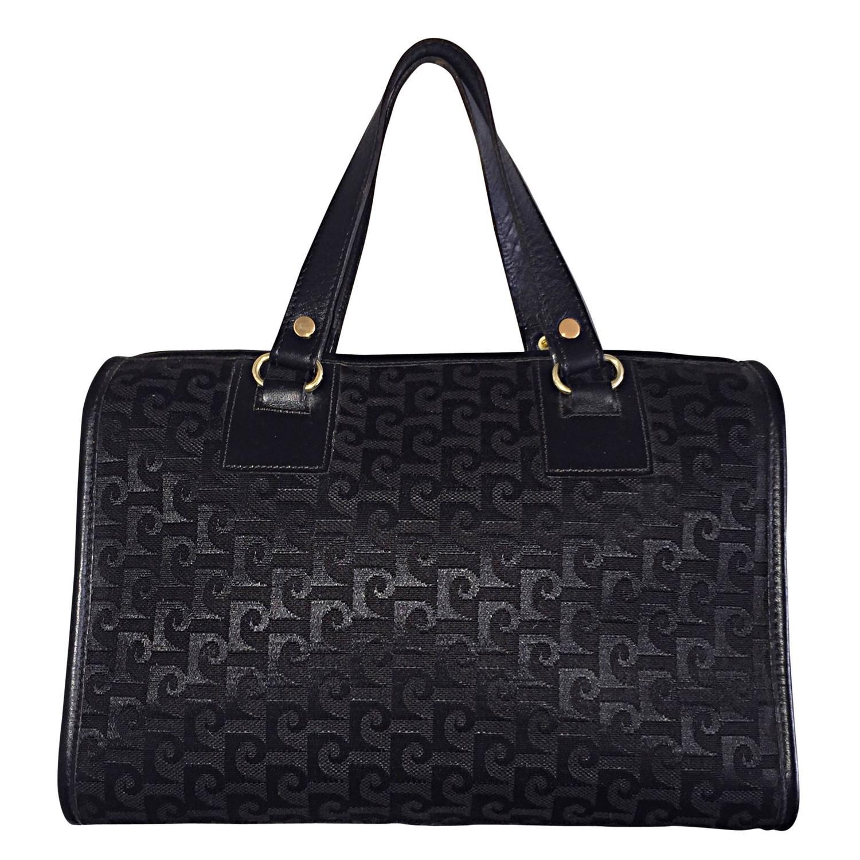 Rare Vintage Pierre Cardin Black Sdy Handbag Bag Signature Purse Satchel For At 1stdibs