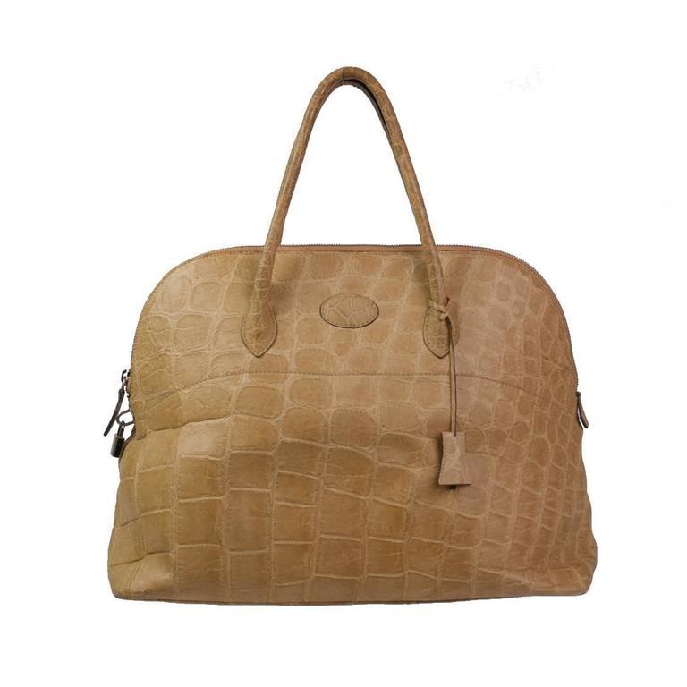 Donna Elissa Milano Beige Crocodile bag