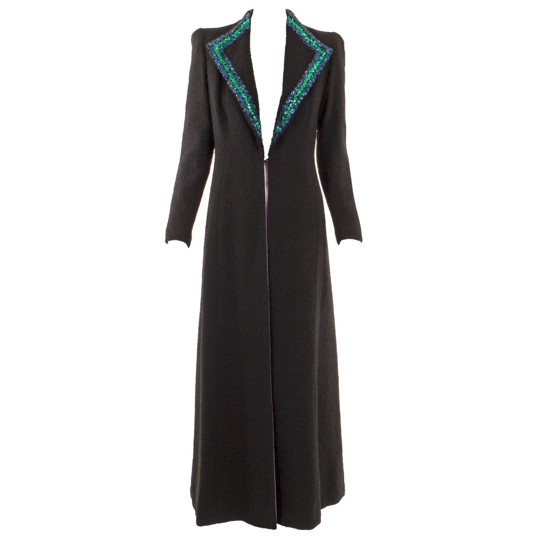 Schiaparelli haute couture black wool coat autumn winter for Haute couture clothing