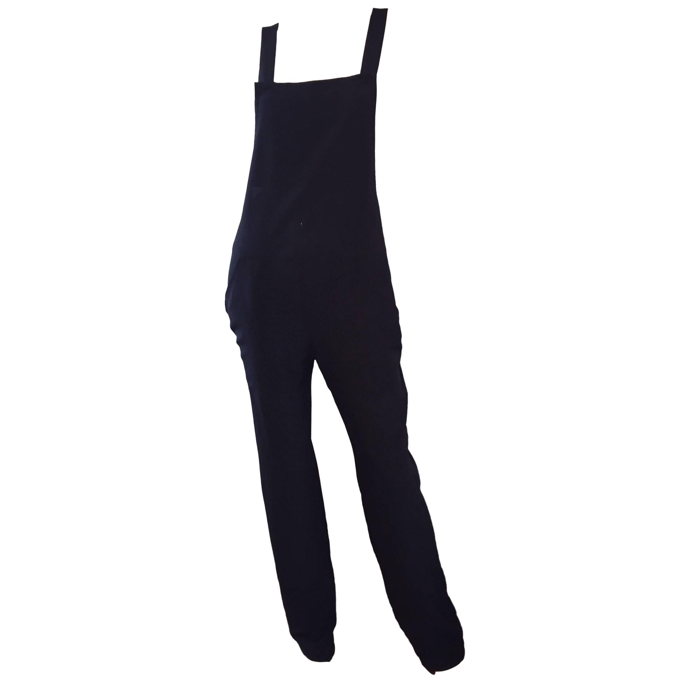 Rare Late 90s Tom Ford for Gucci Size 42 / 8 / 10 Black Silk Jumpsuit Racerback