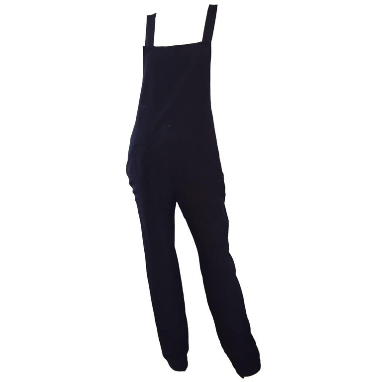 Rare Late 90s Tom Ford for Gucci Size 42 / 8 / 10 Black Silk Jumpsuit Racerback For Sale