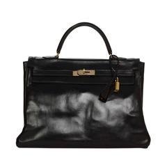 Hermes Vintage 1946 Black Box Leather Kelly Bag GHW