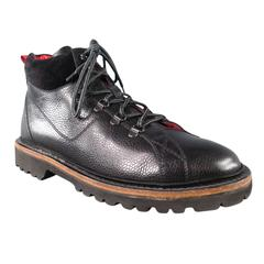 "KITON Size 8 Black & Red Leather ""Hiker Style"" Boots"