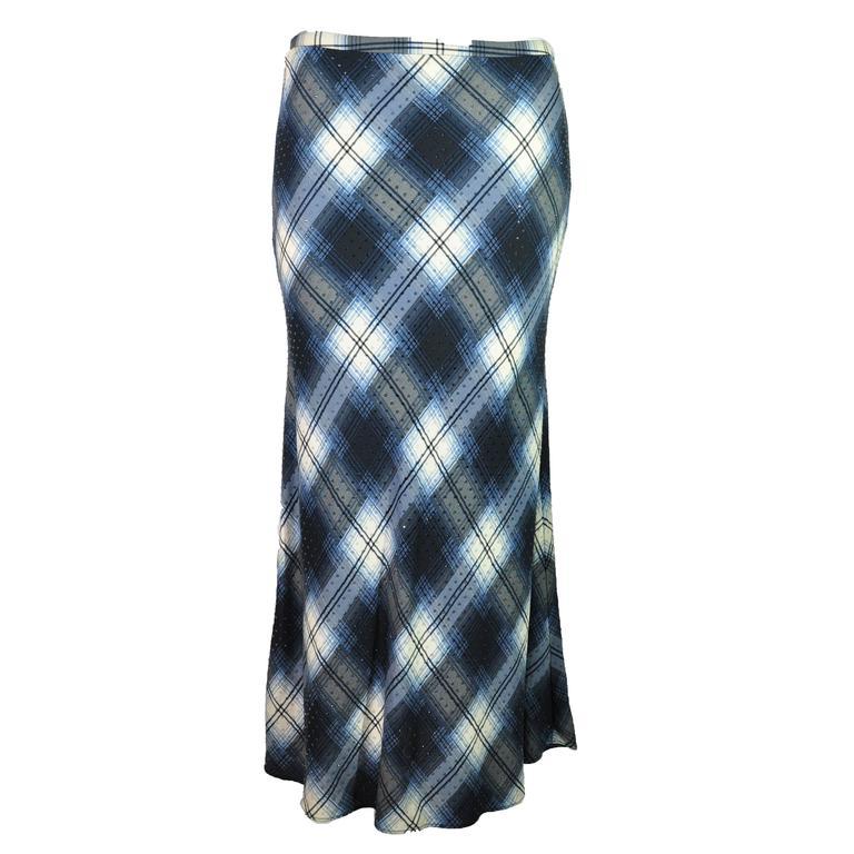 Celine by Michael Kors 90's Argyle Print With Crystals Silk Midi Skirt