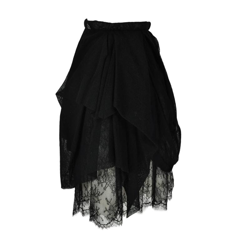 Chanel 2010 Black Tulle and Lace Asymmetric skirt FR34 For Sale
