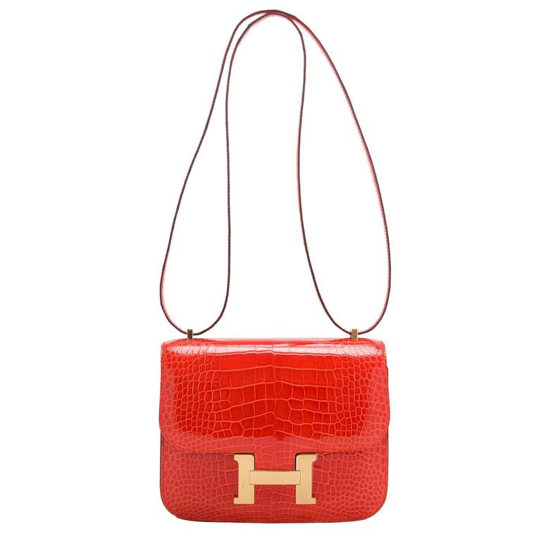 Hermes Orange Poppy Shiny Alligator Mini Constance 18cm Gold Hardware For Sale