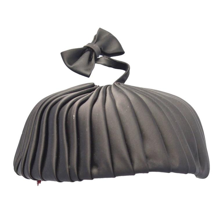 1960s Sally Victor Black Pleated Pillbox Style Hat with Bow Accent For Sale