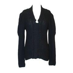 Oscar de la Renta Black Cashmere Knitted Heavy Sweater - Large