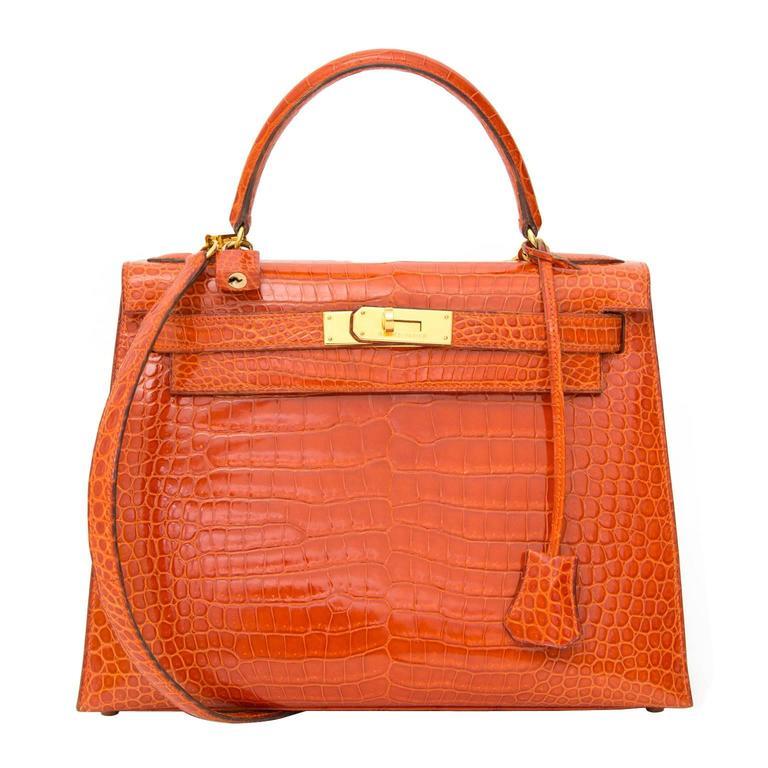 2c3fefbd86ca Hermès Kelly 28cm Rouge Agathe Crocodile Porosus GHW With Strap For Sale