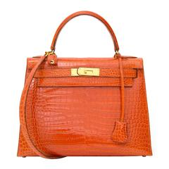Hermès Kelly 29 Rouge Agathe Crocodile Porosus GHW With Strap