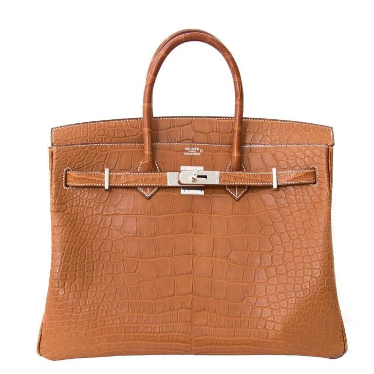 Hermès 35cm Barenia Fauve Matte Alligator PHW Birkin Bag