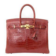 Hermès Birkin 35 GHW Crocodile Porosus Lisse Rouge H
