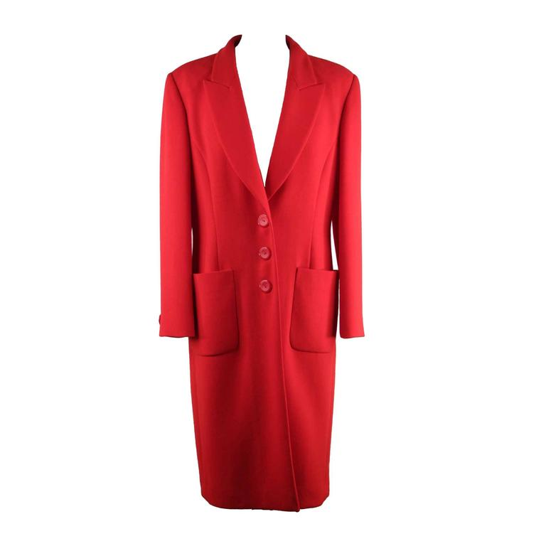 MILA SCHON Italian VINTAGE Red Light Weight Fabric COAT Size 42 IT AJ