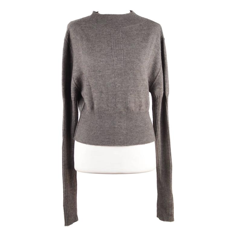 RICK OWENS Gray Wool CROPPED JUMPER Long Sleeve SWEATER Mountain F/W 12 Sz S  For Sale