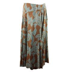 DRIES VAN NOTEN Green & Brown Cotton MAXI SKIRT Long Lenght SIZE 38 FR