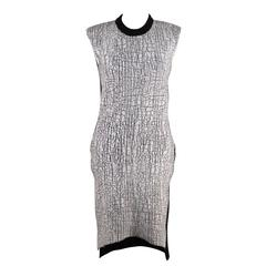 BALENCIAGA Black Wool & Cashmere CRACKLED White PAINT Detailed KNIT DRESS 38