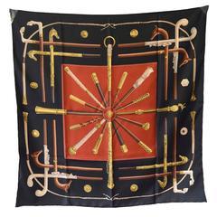 Authentic Hermes Vintage Cannes Et Pommeaux Silk Scarf