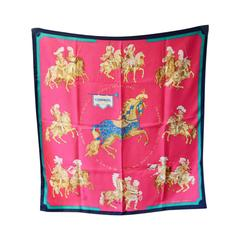 Hermes Vintage Carrousel Silk Scarf In Vibrant Red C1980s
