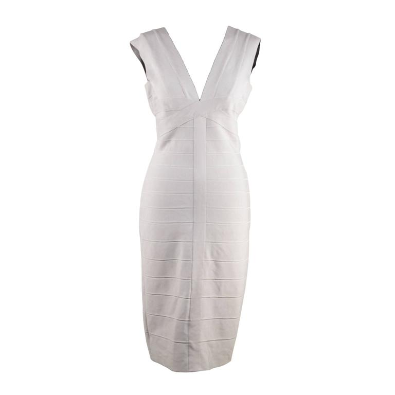 HERVE LEGER Pearl Gray Bodycon BANDAGE DRESS Sleeveless V NECK Size M CP For Sale