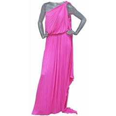 Exceptional Pierre Cardin Hot Pink Pleated Silk Evening Dress c. 1977