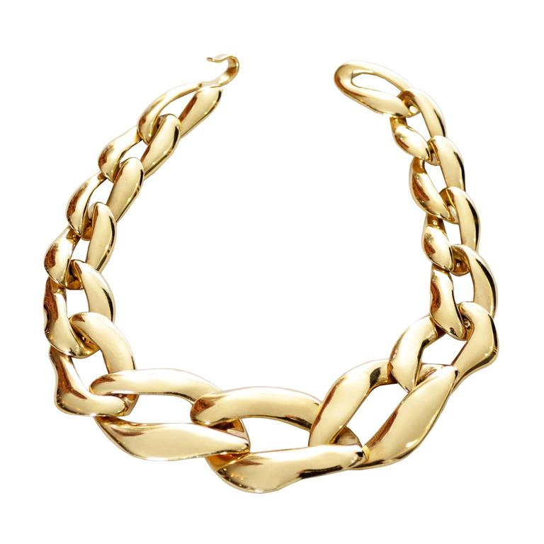 5e987acaf6a YSL Yves Saint Laurent Vintage Link Necklace Signed Numbered Gold Plated  Chunky For Sale