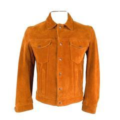 Vintage SCHOTT Size 40 Tan Textured Suede Trucker Jacket