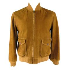 RRL by RALPH LAUREN Men's 40 Tan Suede Patch Pocket Bomber Jacket