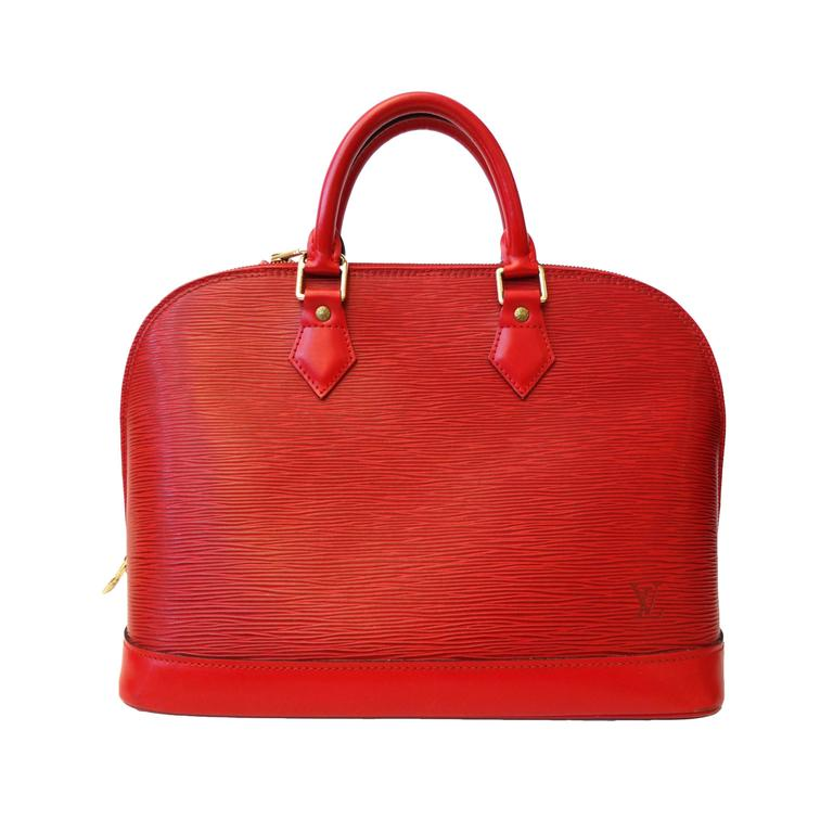 1990s Louis Vuitton Epi Alma PM Castilian Red Handbag  For Sale