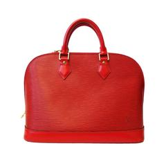 1990s Louis Vuitton Epi Alma PM Castilian Red Handbag