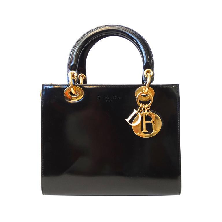 "1995 Christian Dior Black Patent ""Lady Dior"" Bag  For Sale"