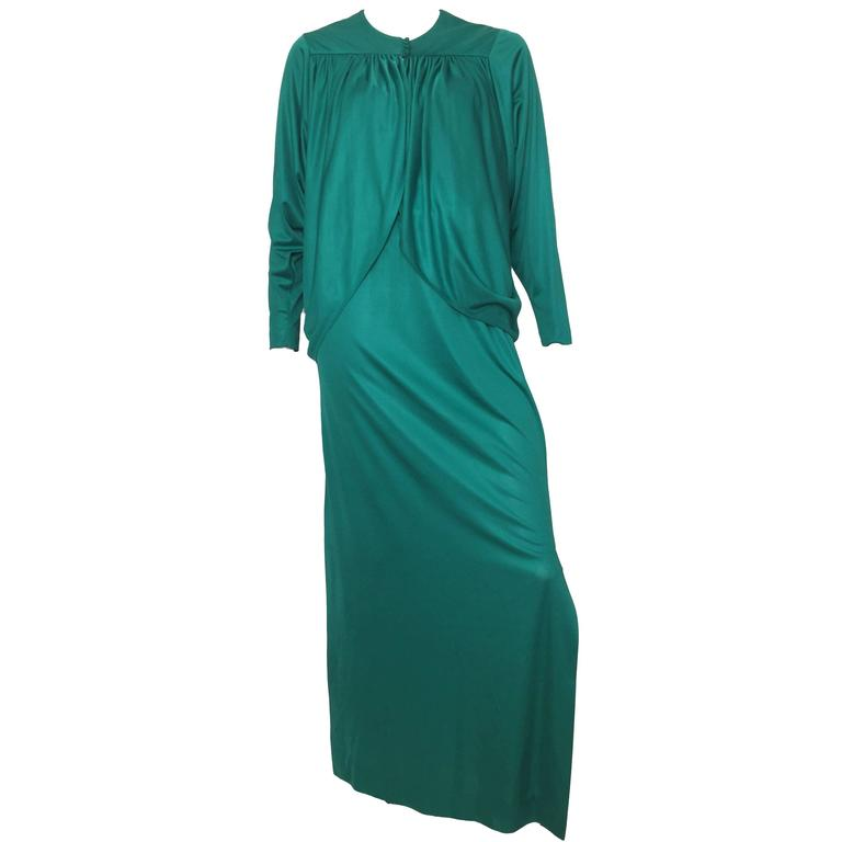 I.Magnin 1970s Maxi Green Dress with Dolman Sleeve with Jacket Size 4.