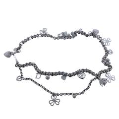 Christian Dior Silver Diamante Charm Belt and Necklace