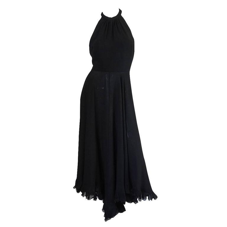 1970s Gorgeous Valentino Backless Silk Chiffon Dress 1