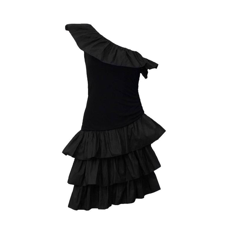 1980's Givenchy Black Ruffle One Shoulder Cocktail For Sale