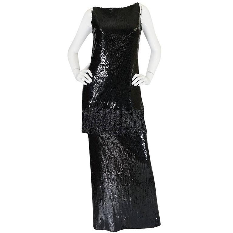 1960s Sequin & Fringe Couture Bill Blass Tunic & Skirt