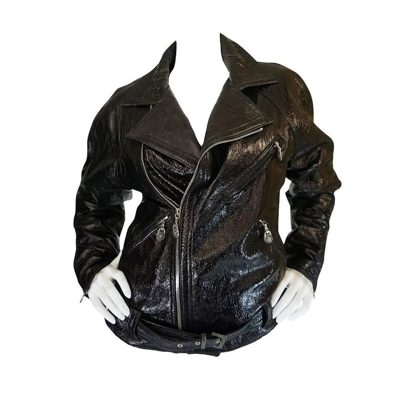 1990s Gianni Versace Patent Leather Motorcycle Jacket 1