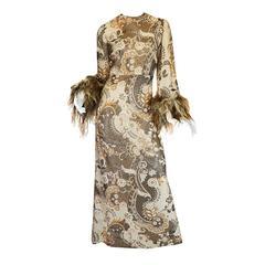 1970s Bill Blass Metallic Gold Lurex Knit & Feather Cuffed Dress