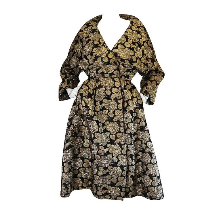 "1950s Rich Gold Thread Silk Brocade ""New Look"" Coat 1"