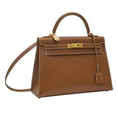 2013 Hermes 32cm Rigid Veau Grain Lisse Noisette Box Kelly Bag